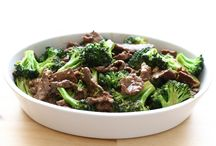 Steak,brocoli chinois