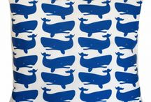Tröskö Nautical / Pillows and maybe more with whales from Tröskö Design