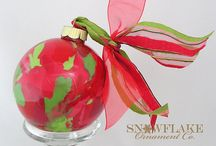 Red and Green Glass Ornament