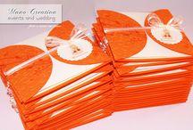Per la Prima Comunione di NICOLA... /  ...inviti in arancione e avorio. Illustrazioni © Vanessa D'Alba