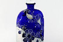 maľované fľaše, sklo