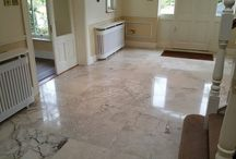 Restored Travertine Kitchen Floors / Showing what travertine should look like in your kitchen ....after it has undergone restoration work . We can help you maintain this floor and this look long term . These are all real kitchens in real Irish homes