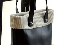 Leather and Cashmere bag / 100% Italian Leather and Cashmere Bag