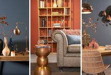 vtwonen Stijl Studio: Kopergloed / vtwonen Stijl Studio 'Kopergloed' staat voor een sfeer van vriendelijkheid, vertaald in een warm, natuurlijk palet van aardetinten. Overal ter wereld valt op dat metaaltinten een toenemende rol spelen in het interieur. Een hartverwarmend spectrum van roze-, rood-, en oranjetinten laat zich prachtig integreren met vergrijsd blauw en verweerd bruin. / by Eijerkamp - Wooninspiratie, tips & trends