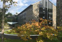 College Buildings with Stone Veneer