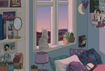 aesthetic room illustrations (wow that's oddly specific)