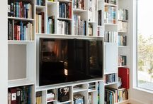 bookshelves tv wall