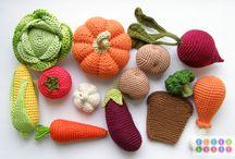 uncinetto ortaggi e frutta e fiori