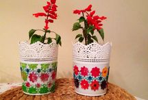 Decorating plastic pots / Decorating these pots I bought for 1.5 TL with acrylic paint and plastic lace.