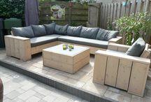 Steigerhouten lounge set
