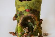 Felted wool creations and needle felt projects