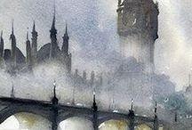 londra big ben ponte nella nebbis