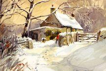 fattoria nella neve con cielo dorato!!!!
