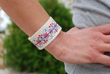 bracelets / cotton bracelet embroidered with motifs based on Greek traditional designs