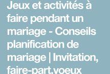 Jeu activités de mariage