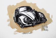 Linocuts & Coffee / Linocuts and Coffee painting
