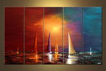 Pintura con veleros