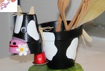 Black and white pot cow