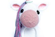 Stuffed unicorn / Crochet baby toys, stuffed animals, for babies and kids
