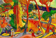 """Fauvism / Fauvism is the style of les Fauves (French for """"the wild beasts""""), a loose group of early twentieth-century Modern artists whose works emphasized painterly qualities and strong color over the representational or realistic values retained by Impressionism. While Fauvism as a style began around 1900 and continued beyond 1910, the movement as such lasted only a few years, 1904–1908, and had three exhibitions. The leaders of the movement were Henri Matisse and André Derain."""