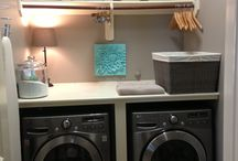 Laundry idea. Upper shelves, lamp
