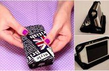 Capinhas para celular e carteiras feitas com caixa de leite