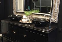 Bathroom black rustic glam