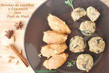 Bolinhas de Lentilhas e Cogumelos com Puré de Maçã / Vegan, sem glúten, sem óleo, sem açúcar e sem soja. Boa quantidade de proteína vegetal e baixo em gordura.