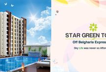 Star Green Tower - A G+10 Residential Apartment with ClubHouse Located Off Belgharia Expressway / Live amidst the clouds, only at Star Green Tower. Find yourself among various amenities like separate Club house, open area, landscape, swimming pool, Gym, Community Hall, Children play area, Library etc