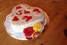 Herz-Kuchen / Zum Jahrestag! Erdbeer mit Vanille Füllung.