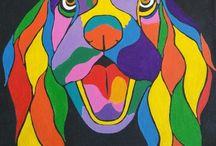 Pup Art / Acrylic on canvas