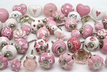 Stunning unique pink range of doorknobs by These Please / Selection of ceramic and glass doorknobs - unique designs, beautiful door knobs at www.theseplease.co.uk