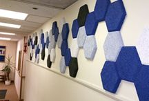Panel Art / Tectum Panel Art wall panels are the latest innovation from Tectum Inc. Eight different pre-fabricated shapes allow for artistic patterns and designs while providing the abuse resistance and acoustical absorption the design community has come to rely on from Tectum products.