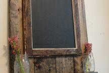schoolbord met pallethout