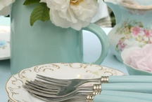 teal and blue table settings