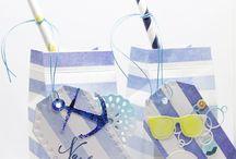 Designpapier – Aquarell Streifen Blau