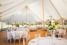 Wedding flowers and marquee