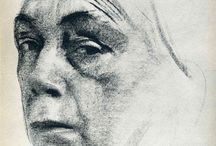 . KATHE KOLLWITZ . / German 8 July 1867 – 22 April 1945 Painter, printmaker, and sculptor.  / by . Kimia . Jb