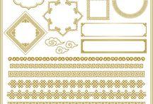 Frames e arabescos dourados