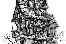Environment Sketches / Buildings, backgrounds & environment design & sketch