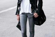 •Leather•Jacket•Jeans•Boots•Heels•
