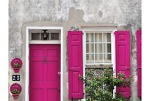 color: hot pink / Hot pink doors. Pink inspiration. How to decorate with pink.