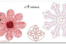 Flores y apliques crochet / graficos de flores a crochet