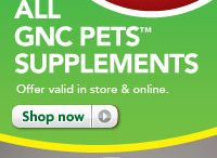 GNC Pets / You take supplements to be as healthy as you can be. Why not give your pet the same opportunity? GNC Pets vitamins and supplements are a great way to give your pet an extra boost that can help support the overall health of dogs and cats. Available exclusively through PetSmart and GNC.com