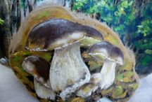 """my work, tinder fungus art / What is a Tinder fungus?? A Tinder Fungus is a """"shelf mushroom"""" that grows on the side of trees."""