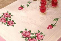 tablecloths, cross-stitch / obrysy, serwety - haft krzyżykowy