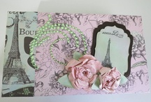 Bonjour Mini Album / I made this album following a tutorial I puchased from Kathy Orta on Paper Phenomenon. I used the Kaisercraft Bonjour Collection. It was so much fun to make and I used lots of stickles, glossy accents, spellbinders dies and distress inks.
