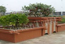 FLOWER BOXES / Abandoned the defects of natural wood, durable, has longer life time, anti-UV, anti-erosion, no deformation, non-absorbent, moisture-resistant, adaptable to temperature difference.Can be used in the city streets, squares, parks, etc., placed in different shapes.
