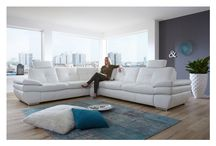 Modern White  Genuine-Leather Sectional