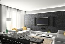 Media Room Inspiration - Moody & dark / Inspiration for our new media/tv room.  Needs to be dark - black, charcoal, greys.  Maybe an accent colour of pale blue, pale green, orange or red